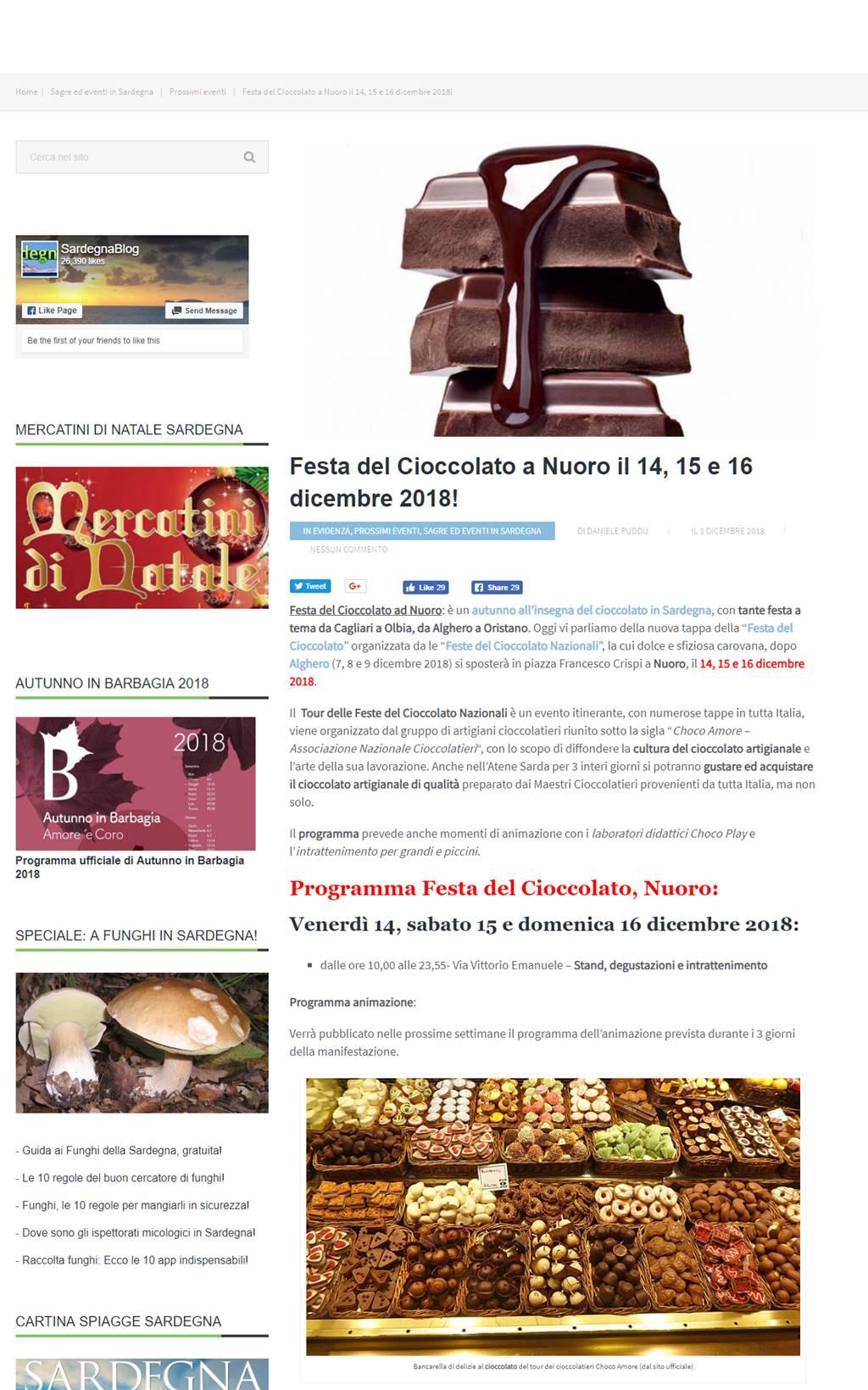 Festa del Cioccolato - Sardegna Nuoro